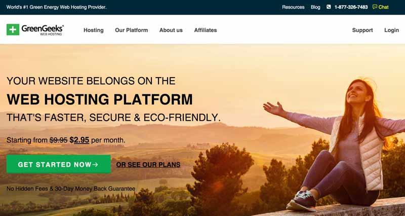GreenGeeks web host homepage