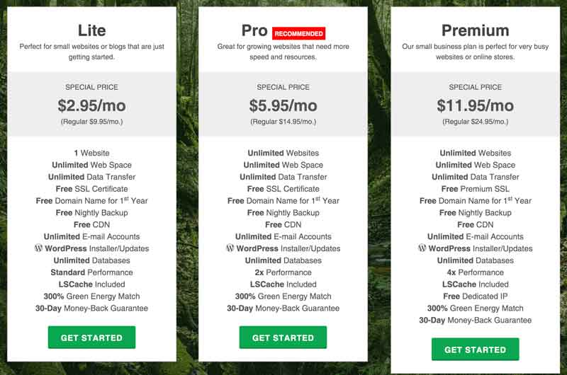 GreenGeeks web hosting plans