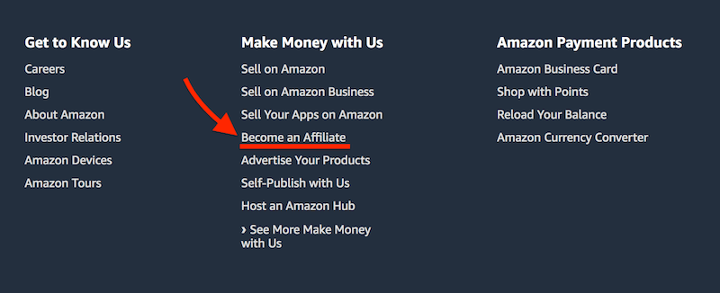 footer section of Amazon - become an affiliate