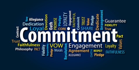 word cloud with commitment focused