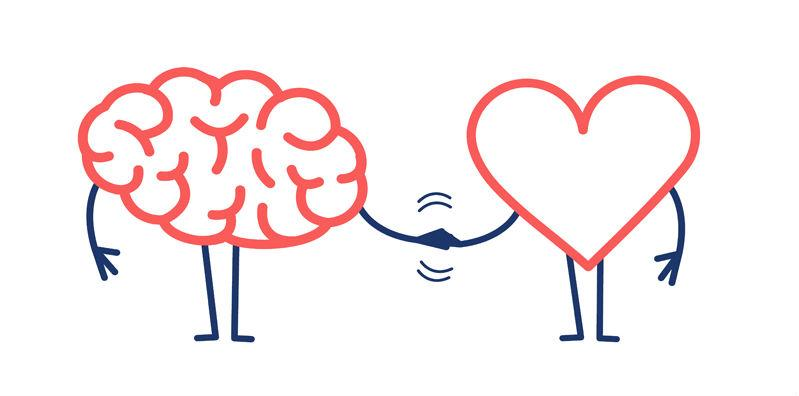 cartoon of a brain and a heart shaking hands