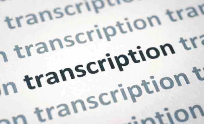 transcription word on a screen