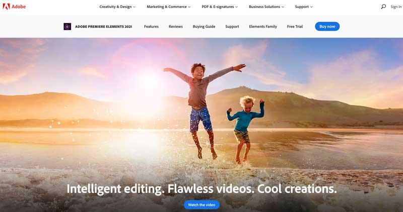 Adobe Premiere Elements homepage