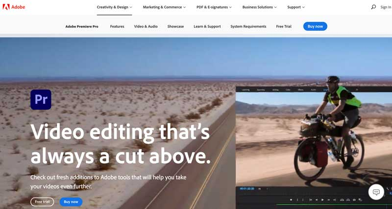 Adobe Premiere Pro homepage