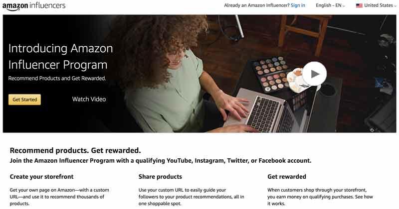 Amazon Influencer Program homepage