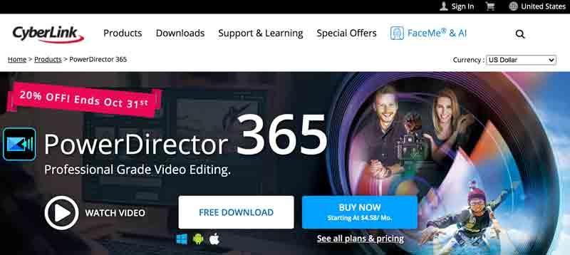 CyberLink PowerDirector homepage