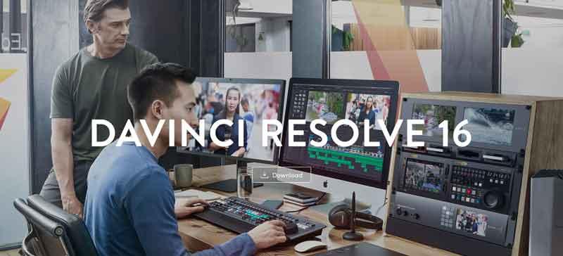 DaVinci Resolve 16 homepage