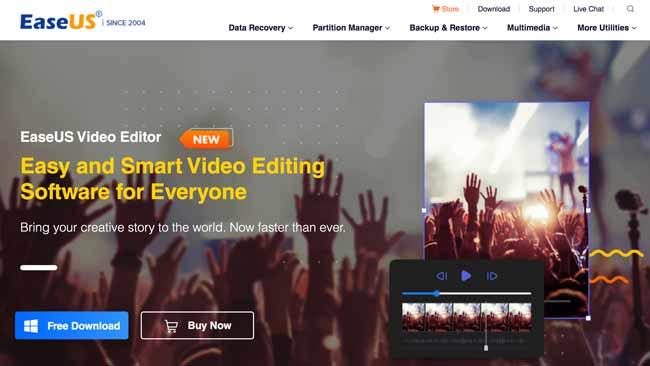 EaseUS Video Editor homepage