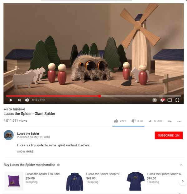 Lucas The Spider YouTube channel integration with Teespring