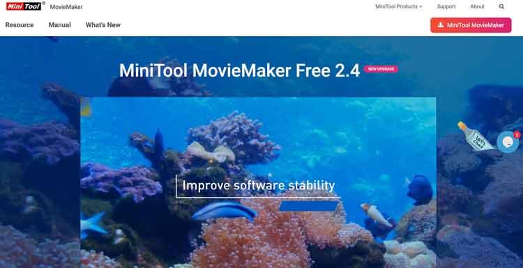 MiniTool MovieMaker homepage