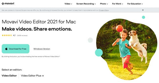 Movavi Video Editor homepage