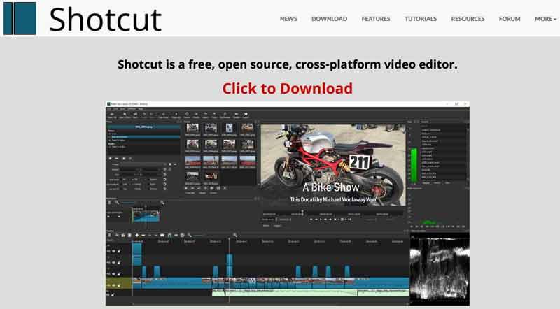 Shotcut homepage
