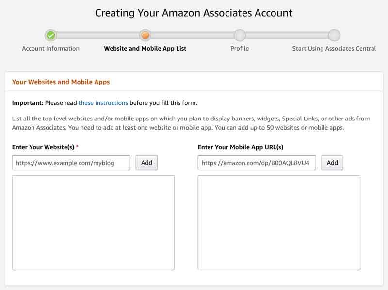 Sign up for Amazon Associates Program