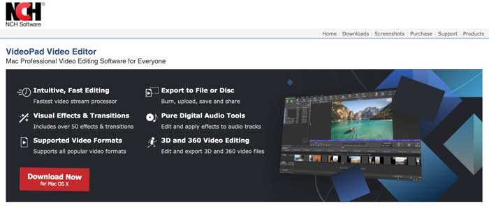 VideoPad Video Editor homepage