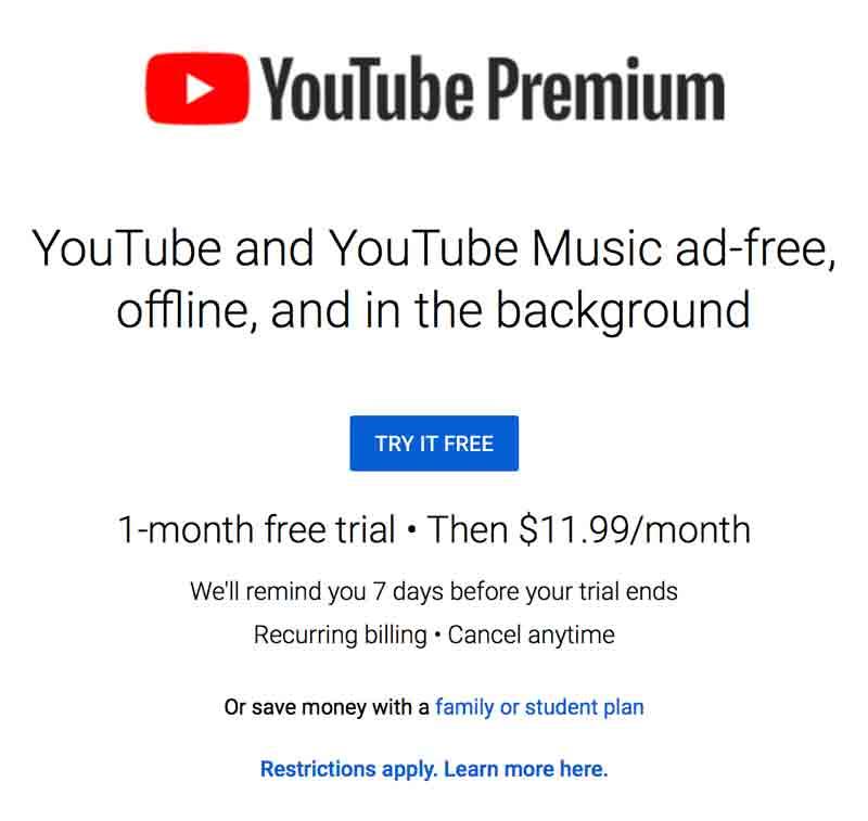 YouTube Premium homepage