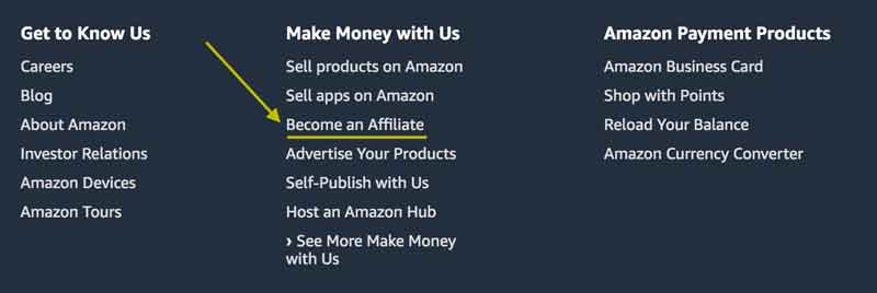 Amazon footer section pointing to affiliate program