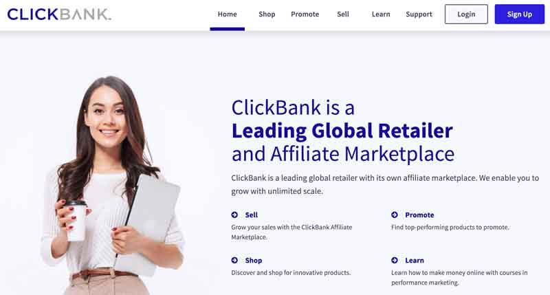 Clickbank homepage