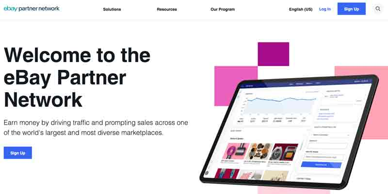 eBay Partner Program homepage
