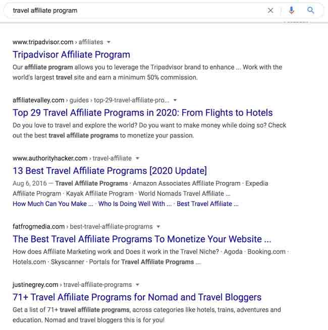 "Google search ""travel affiliate program"""