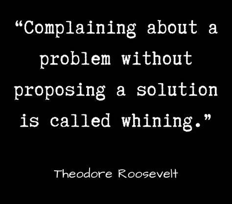 Complaining about a problem without proposing a solution is called whining .