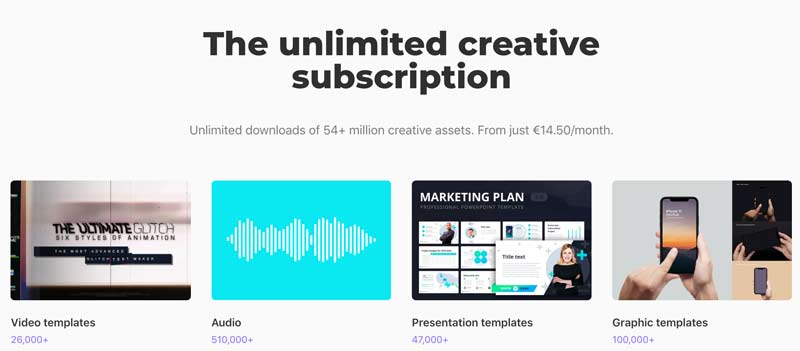 Envato elements - subscription based stock music library