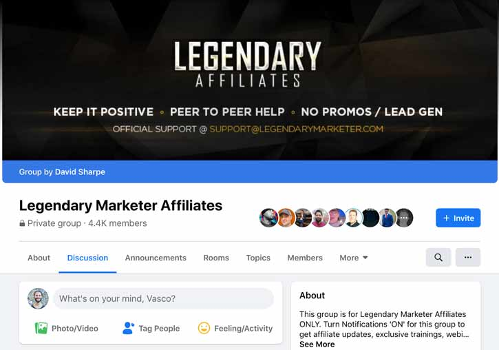 Legendary Marketer Affiliates Facebook group