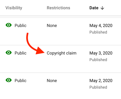 copyright claim on YouTube channel