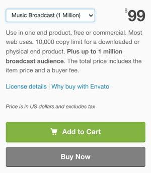 Audiojungle Music Broadcast 1 Million License