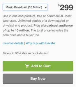 Audiojungle Music Broadcast 10 Million License