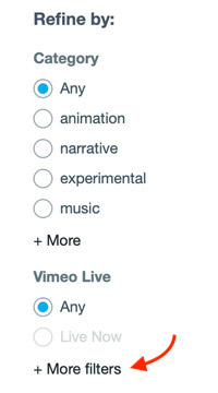 how to search Creative Commons videos on Vimeo